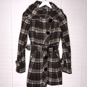 XOXO Plaid Removable Belt Collared Button Coat